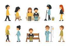 医护人员平,在白色背景,护士,关心,人传染媒介例证,图表编辑可能医生,为 库存例证