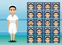 医护人员护士漫画人物情感面孔 库存例证