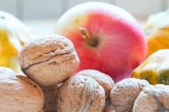 维护健康的必需的套水果和蔬菜在冬天 免版税库存图片