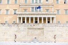 总统护卫队在雅典 免版税库存图片
