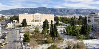 总统护卫队在雅典 免版税库存照片