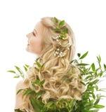 护发、妇女长的头发和有机叶子,式样背面图 免版税库存照片