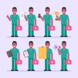 护士人藏品文件电话杯子片剂标志扩音机 字符集 免版税库存照片