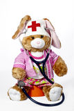 护士兔子充塞了 库存图片