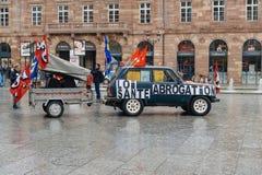 护士和关心助理抗议在法国 免版税库存图片