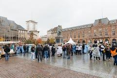 护士和关心助理抗议在法国 免版税库存照片