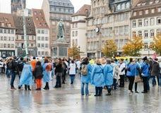 护士和关心助理抗议在法国 免版税图库摄影