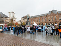 护士和关心助理抗议在法国 库存照片