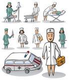 护士和医生白色背景的 免版税库存照片