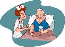 护士和年长患者 免版税库存图片