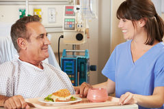 护士在医院病床上供应的膳食患者 免版税图库摄影