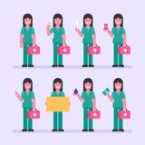 护士妇女藏品温度计药片标志灌肠金钱 字符集 免版税库存照片
