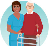 护士帮助年长患者 免版税库存照片