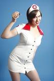 护士性感的注射器 库存照片