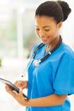 护士片剂个人计算机 库存图片