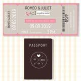 护照和broading的通行证设计婚礼邀请卡片 Ilu 库存图片