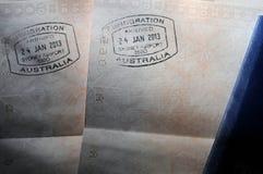护照签证图章-澳洲 免版税库存图片