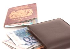 护照钱包 免版税库存图片