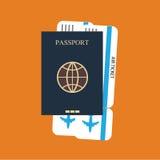 护照,票背景 免版税库存照片
