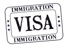 护照移民在白色背景隔绝的签证图章,特写镜头 库存照片