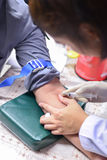 护理采取测试的一个血样健康 库存照片