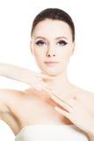 护肤温泉概念 有清楚的皮肤的健康妇女 免版税库存图片