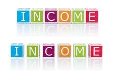 报告与颜色块的题目。收入。 免版税库存照片