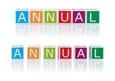 报告与颜色块的题目。每年。 库存图片
