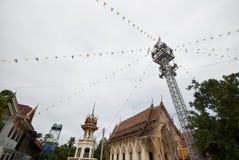 报告人塔在寺庙区域,泰国 免版税图库摄影
