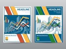 年终报告传单小册子飞行物模板A4大小设计,书套布局设计,抽象介绍模板 图库摄影