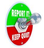 报告它对保持安静扳纽开关正确的选择 免版税库存照片