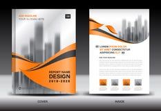 年终报告小册子飞行物模板,橙色盖子设计 库存例证