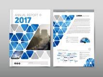 年终报告小册子飞行物设计模板,蓝色上色了vecto 免版税库存图片