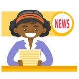 报告非裔美国人的女主持人新闻 向量例证