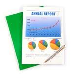 年终报告顶视图。 免版税图库摄影