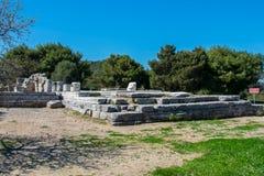 报应圣所在Rhamnous的东北部的Attica在希腊 库存图片