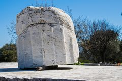报应圣所在Rhamnous的东北部的Attica在希腊 库存照片