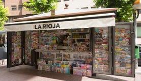 报摊在Logrono,西班牙 免版税库存图片