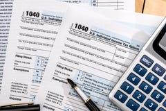 报税表1040在美国 库存照片
