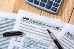 报税表1040在美国 图库摄影
