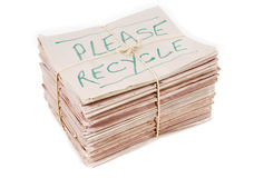 报纸与回收通知 免版税库存照片