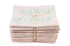 报纸与回收通知 免版税图库摄影