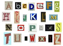 报纸字母表 免版税库存图片