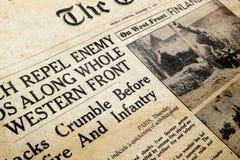 报纸战时 免版税库存照片