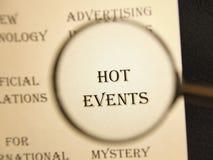 报纸的标题文章`热的事件`的 库存照片