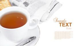 报纸茶点 免版税库存图片