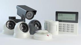 报警系统-照相机和传感器,3d例证 向量例证