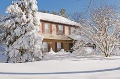 报道的房子雪冬天 免版税库存图片