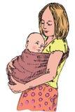 抱她的在手在吊索,手拉的乱画上的年轻母亲孩子 皇族释放例证