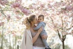 抱她的小小儿子男孩孩子的年轻母亲妈妈在与落的桃红色瓣的开花的佐仓樱桃树下和 免版税库存图片
